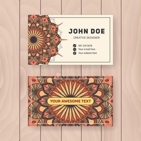 Design de cartão de nome comercial útil criativo. Manda colorida vintage