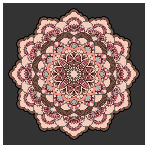 Vintage colorful Mandala with floral ornament. Boho style backgr