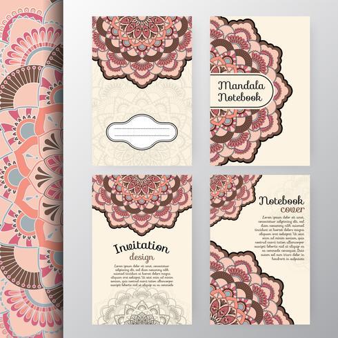 Set van vintage uitnodiging en achtergrondontwerp met dec Mandala