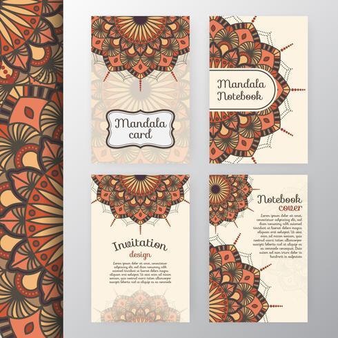 Conjunto de diseño de invitación y fondo vintage con Dec de Mandala