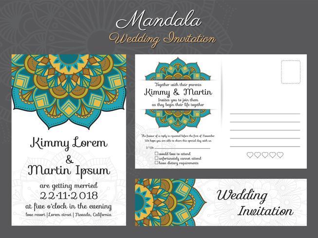 Diseño de tarjeta de invitación de boda clásico vintage con hermosa ma