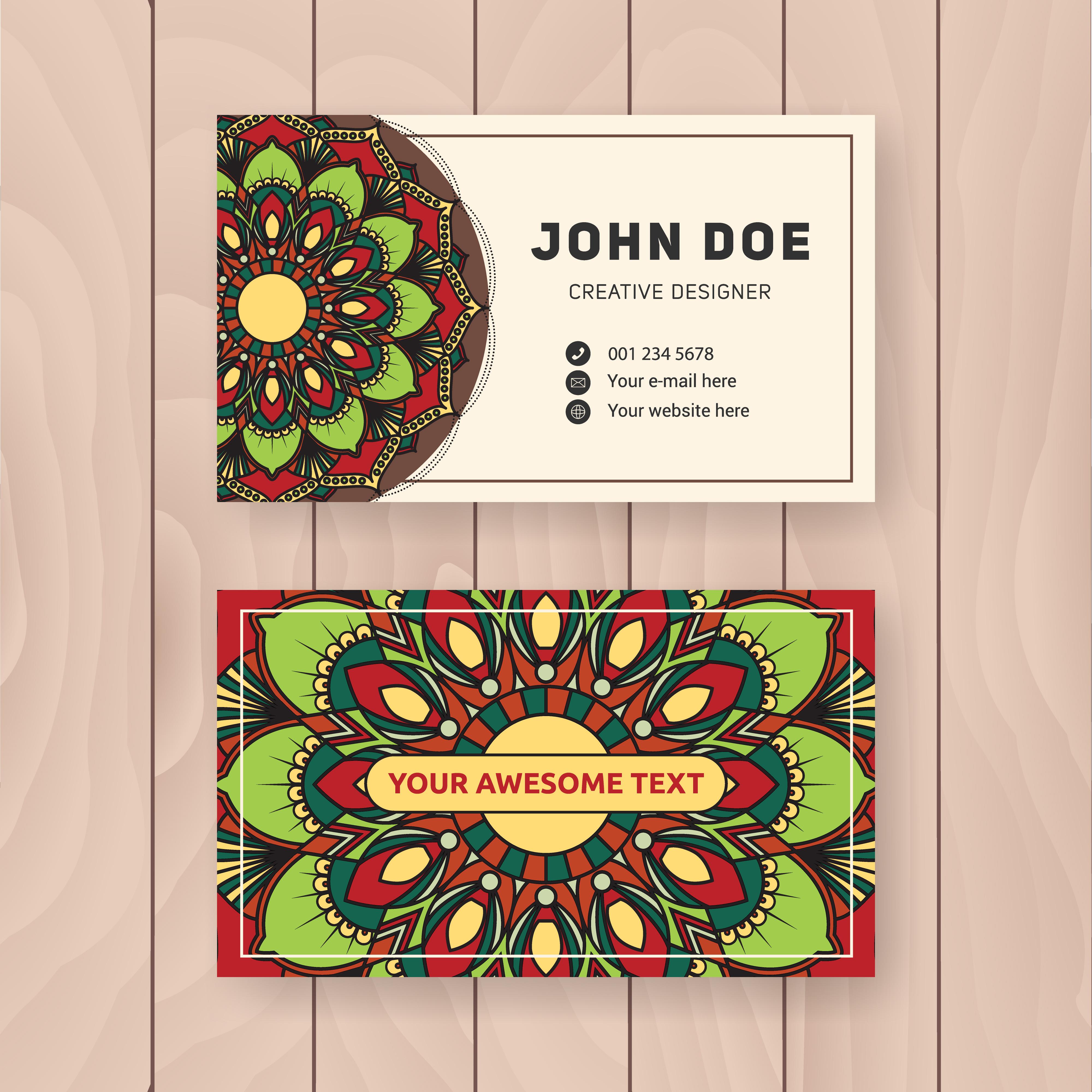 Creative useful business name card design. Vintage colored ...