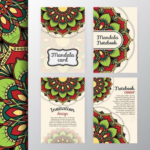 Ensemble d'invitation vintage et design de fond avec Mandala dec