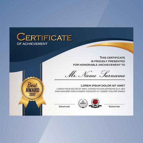 Blå och vit elegant certifikat för prestationsmall backg