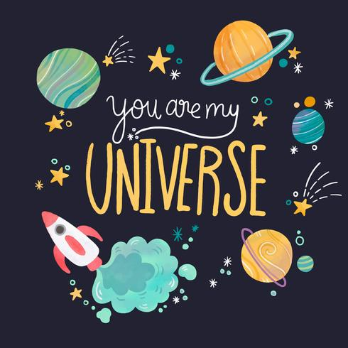 Universo carino con pianeti e scritte con citazione