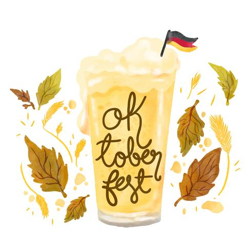 Cute Beer Glass With German Flag To Oktoberfest
