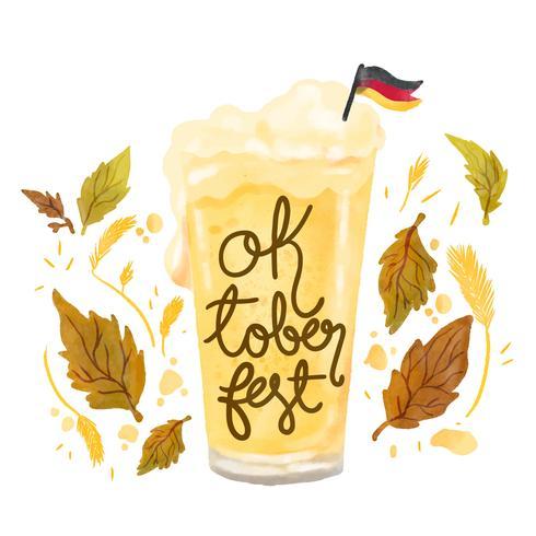 Söt ölglas med tysk flagga till Oktoberfest