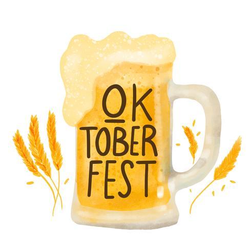 Taza de cerveza linda al Oktoberfest vector