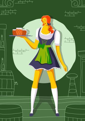 Lady In Dirndl Avec De La Bière