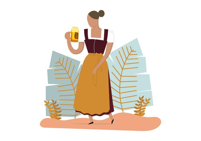 Lady Wearing Dirndl Dress  vector