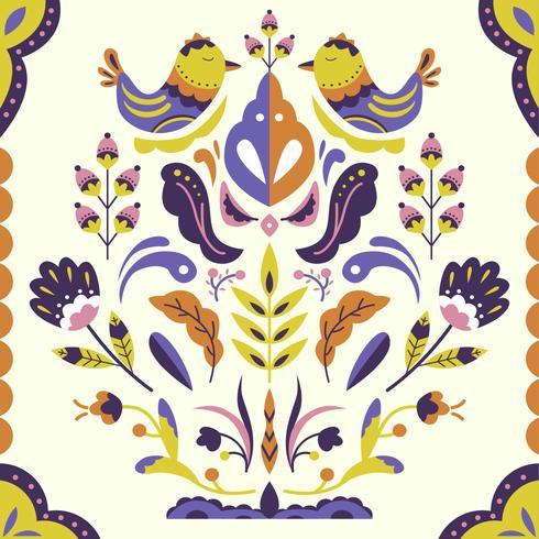 Scandinavian Folk  Pattern Vector