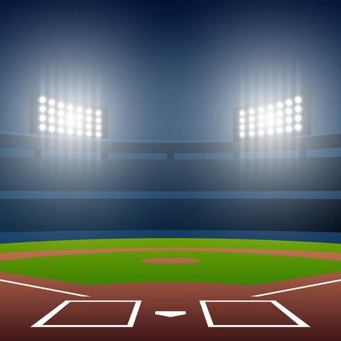Night Baseball Field With Bright Stadium Vector Illustration