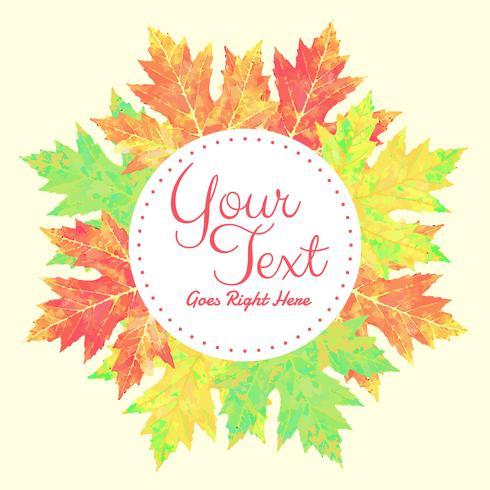 Insegna di Autumn Foliage Vector dell'acquerello