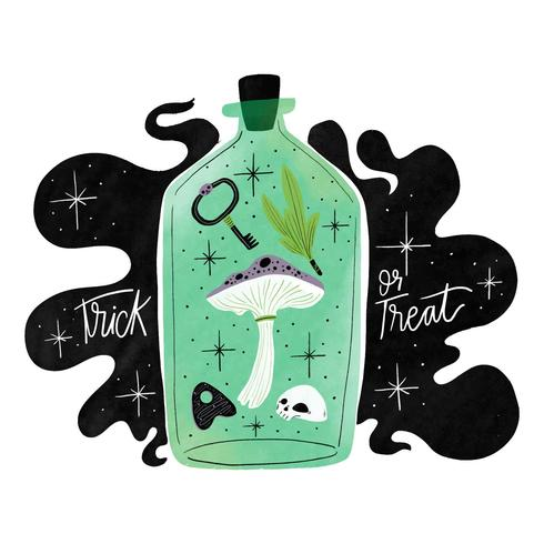 Mystic Green Bottle With Fungu, Skull And Witch Elements