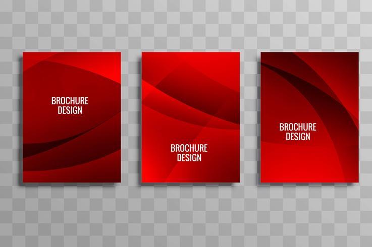 Modern red wavy business brochure template set