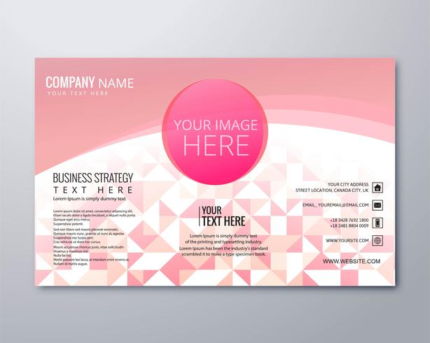 Modern pink geometric business brochure template vector