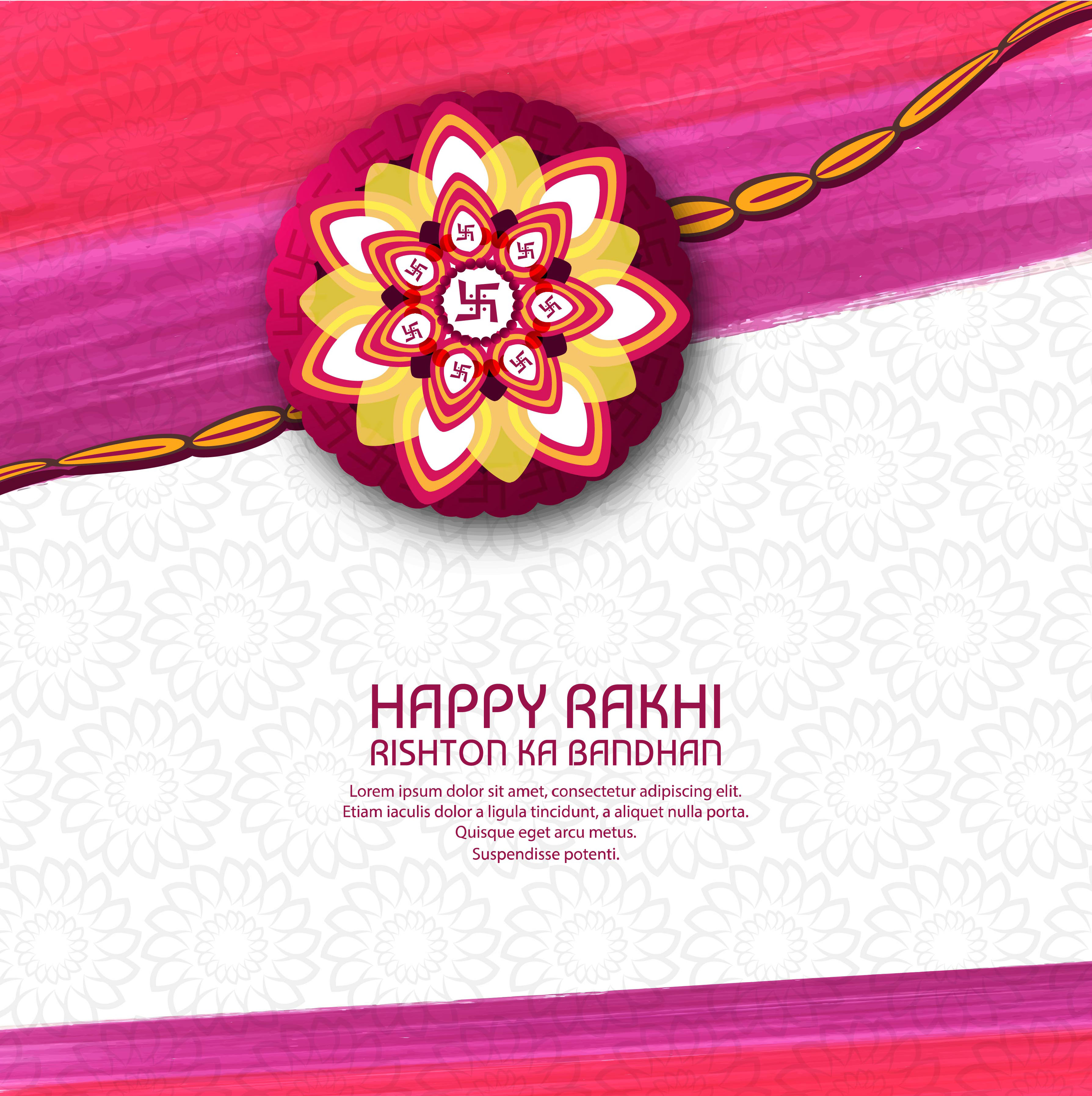 Illustration Of Greeting Card With Decorative Rakhi For