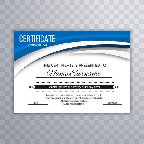 Vettore di certificato creativo ondulato blu elegante astratto