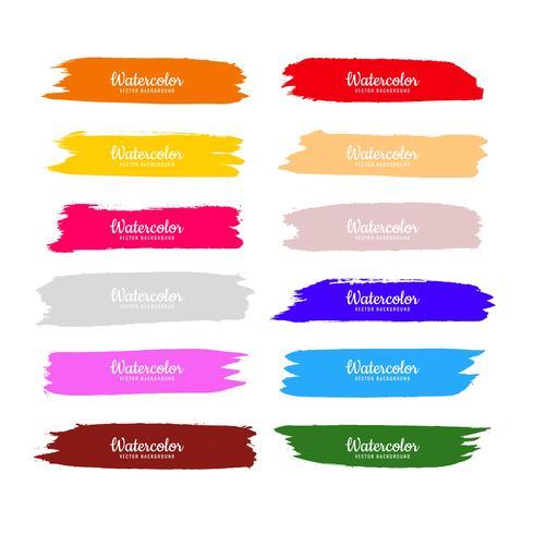 Abstrakt färgrik vattenfärg hand rita slår set design vektor