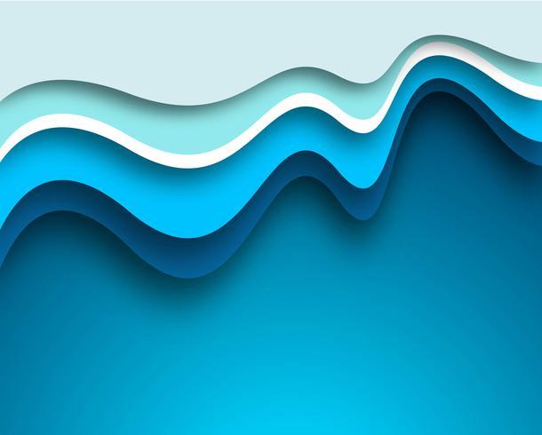 Fond de belle vague bleue créative vecteur