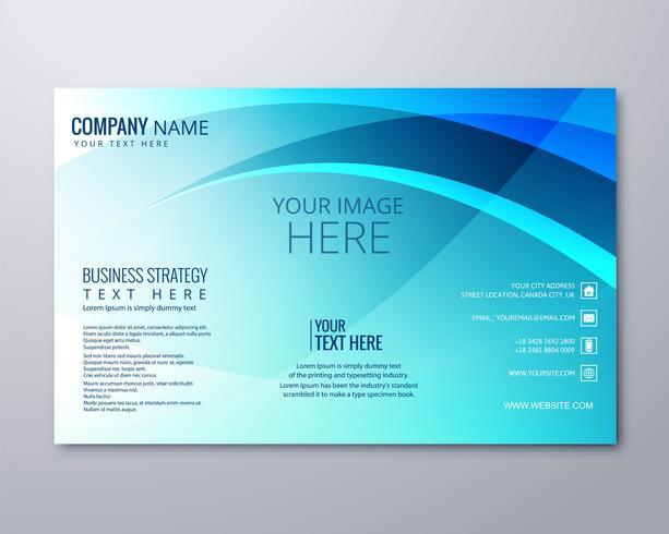 Plantilla de diseño de folleto comercial azul ondulado abstracto