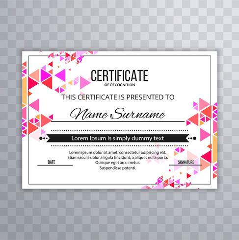 Bellissimo sfondo colorato elegante certificato vettore