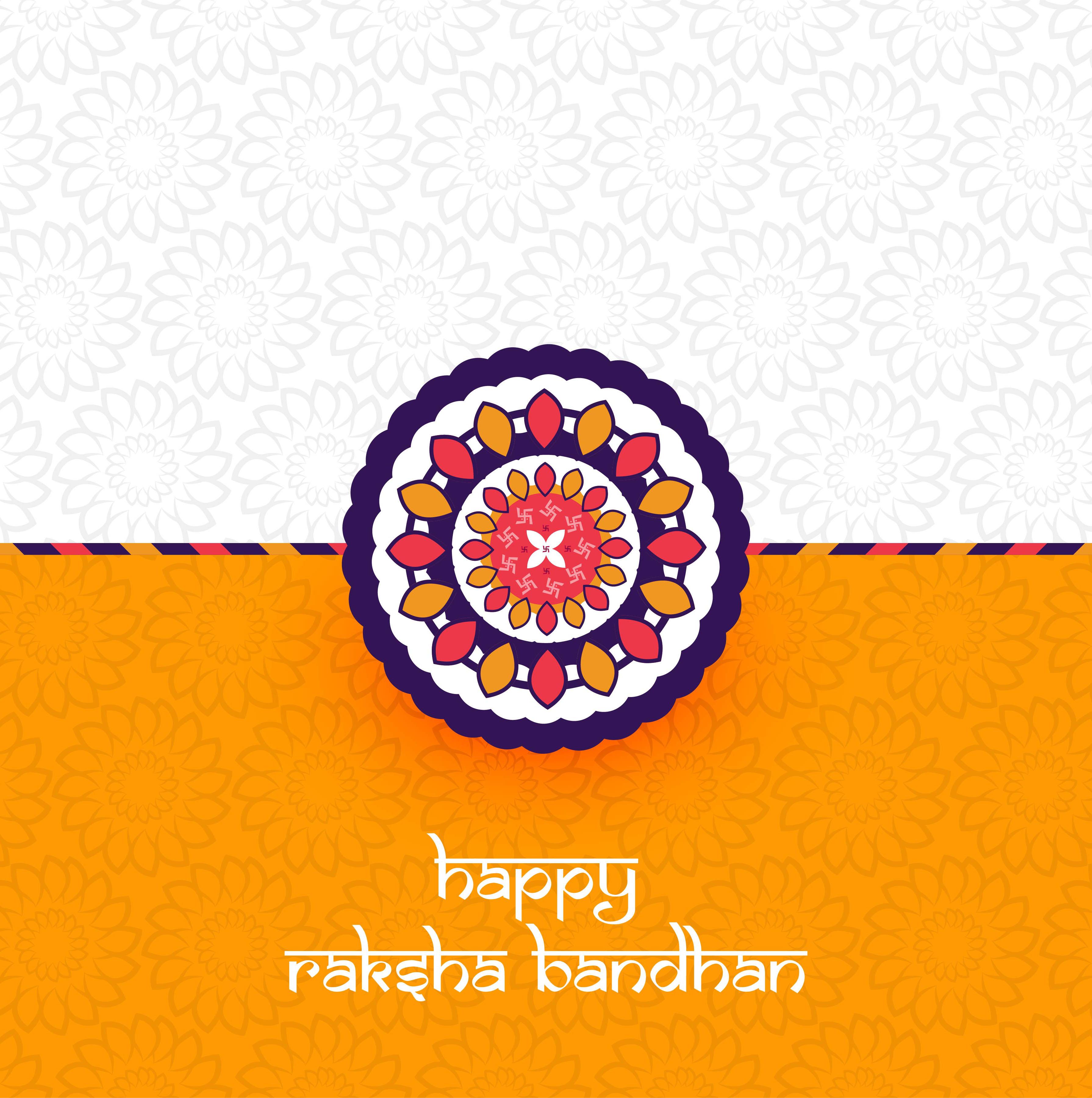 Beautiful Rakhi Decorated, Elegant Greeting Card Design