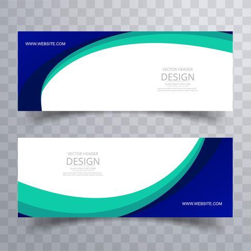 Abstrait élégant wave header design set vector illustration