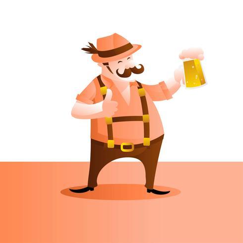 Mann in Lederhosen Zeichentrickfigur