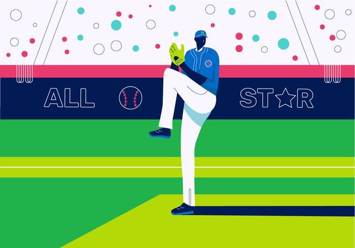 Giocatore di baseball che gioca sull'illustrazione piana del fondo di vettore del campo