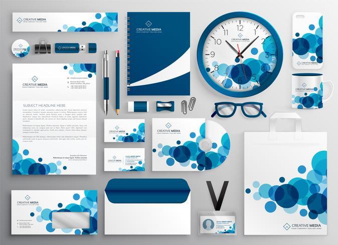 ensemble de papeterie d'affaires abstrait bleu