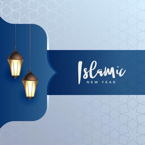 élégant fond de nouvel an islamique avec des lampes suspendues