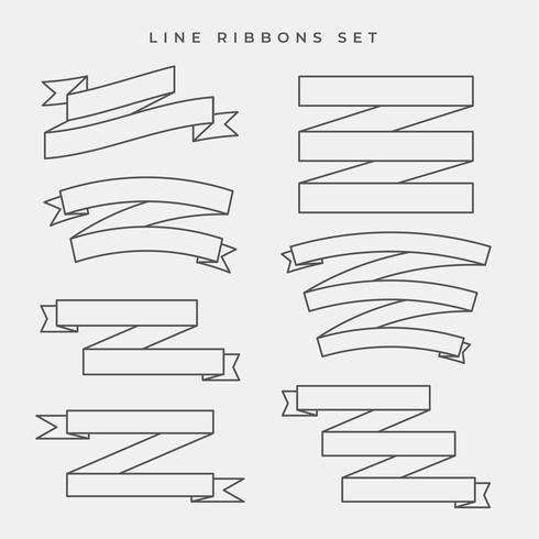 ensemble de bannières de ruban de ligne plate