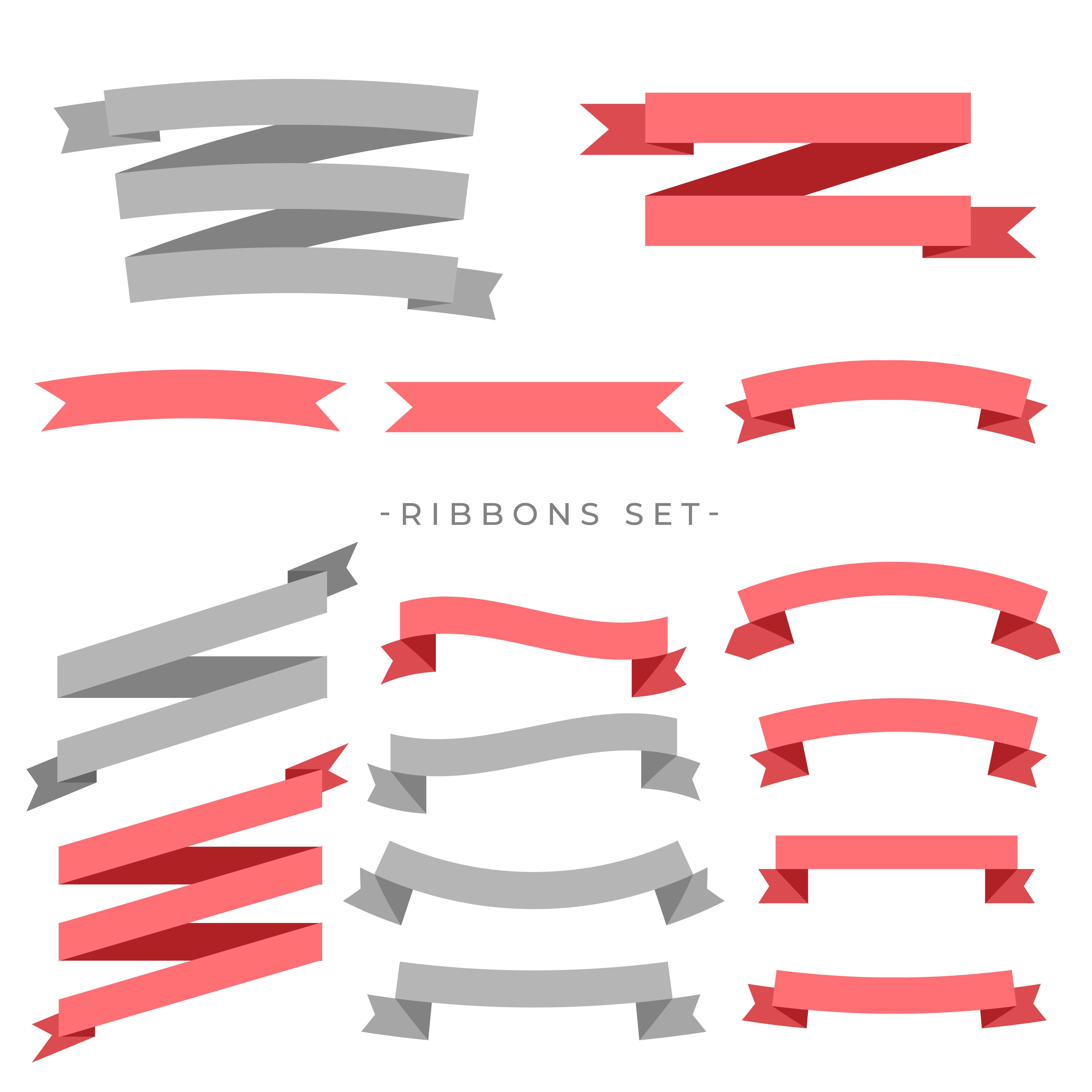 Big Set Of Flat Ribbons Banner Download Free Vector Art