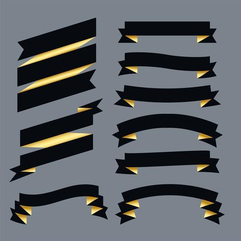 Premium dunkle Bänder setzen Design