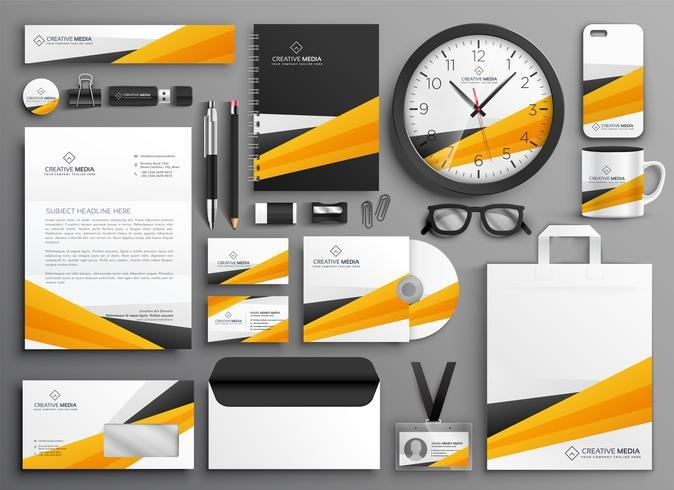 abstraktes gelbes Geschäftsbriefpapier-Set