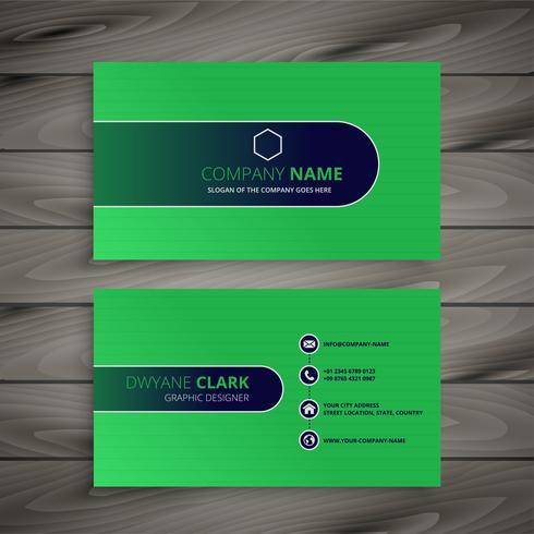 diseño de tarjeta de visita verde abstracto