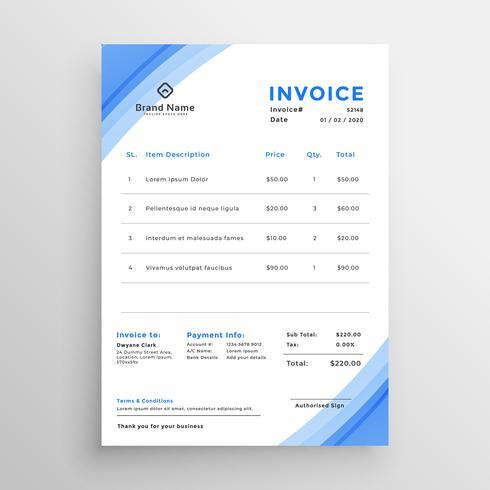 conception de modèle de facture bleue minimale