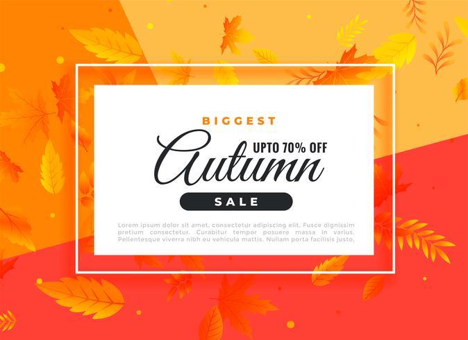 bannière de vente automne avec détails promotionnels