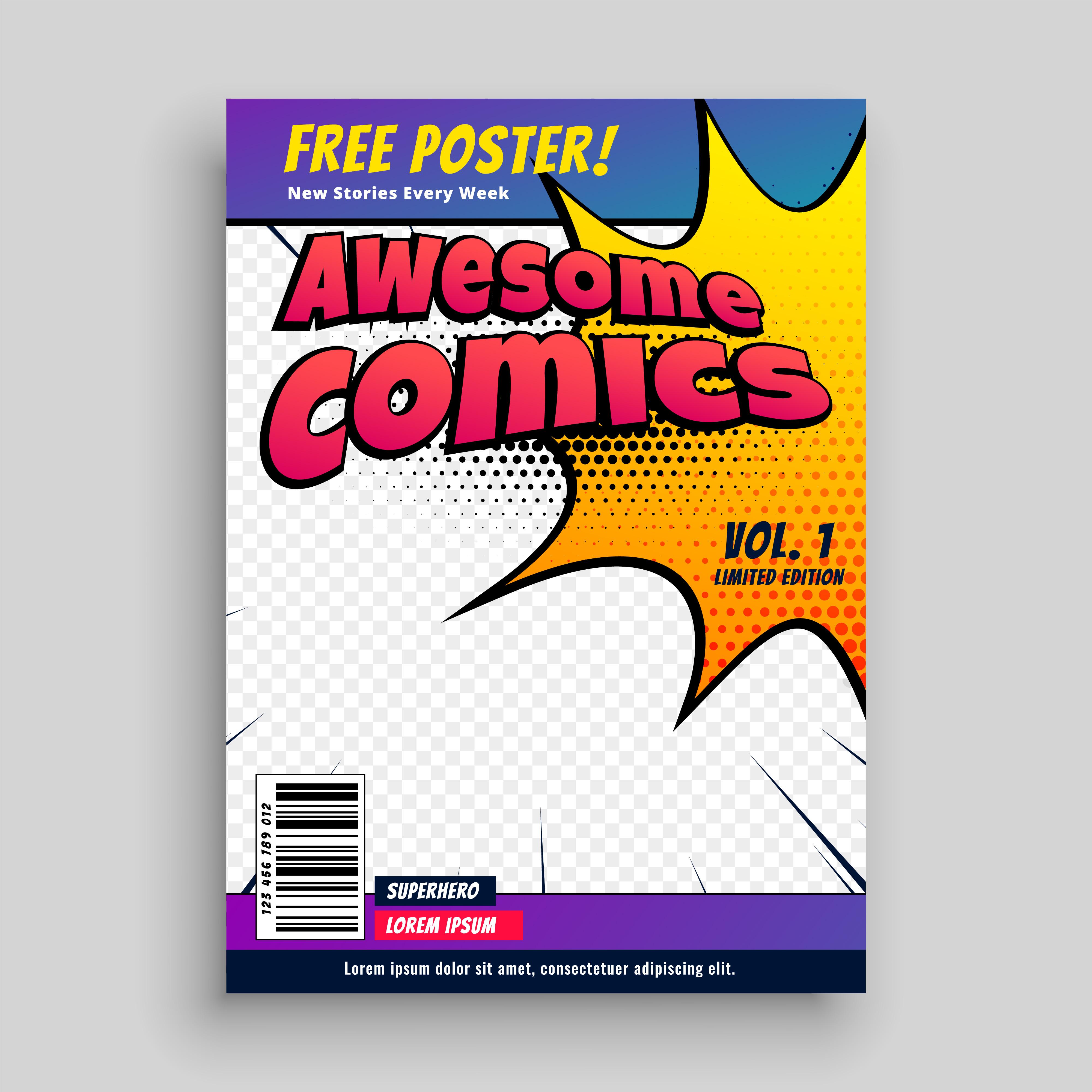 Comic-Buch-Cover-Magazin-Design-Vorlage - Kostenlose Vektor-Kunst ...