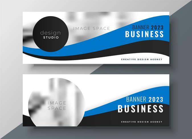 diseño de banner azul ondulado de negocios