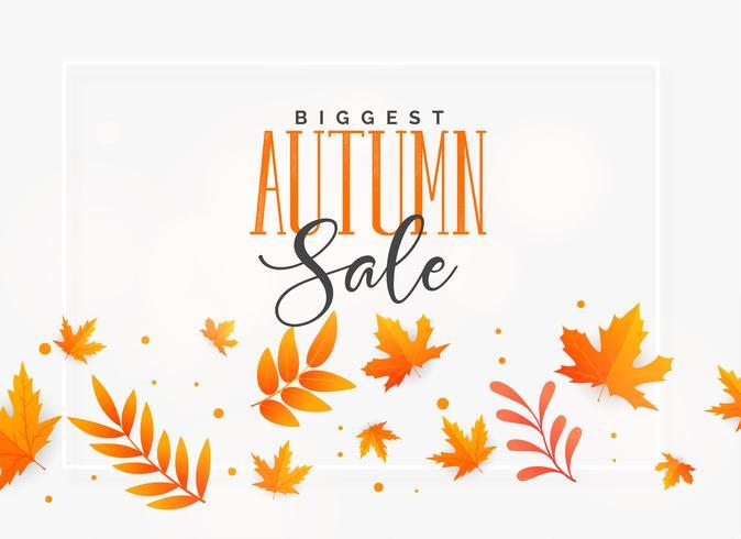 élégant fond de vente automne avec des feuilles volantes