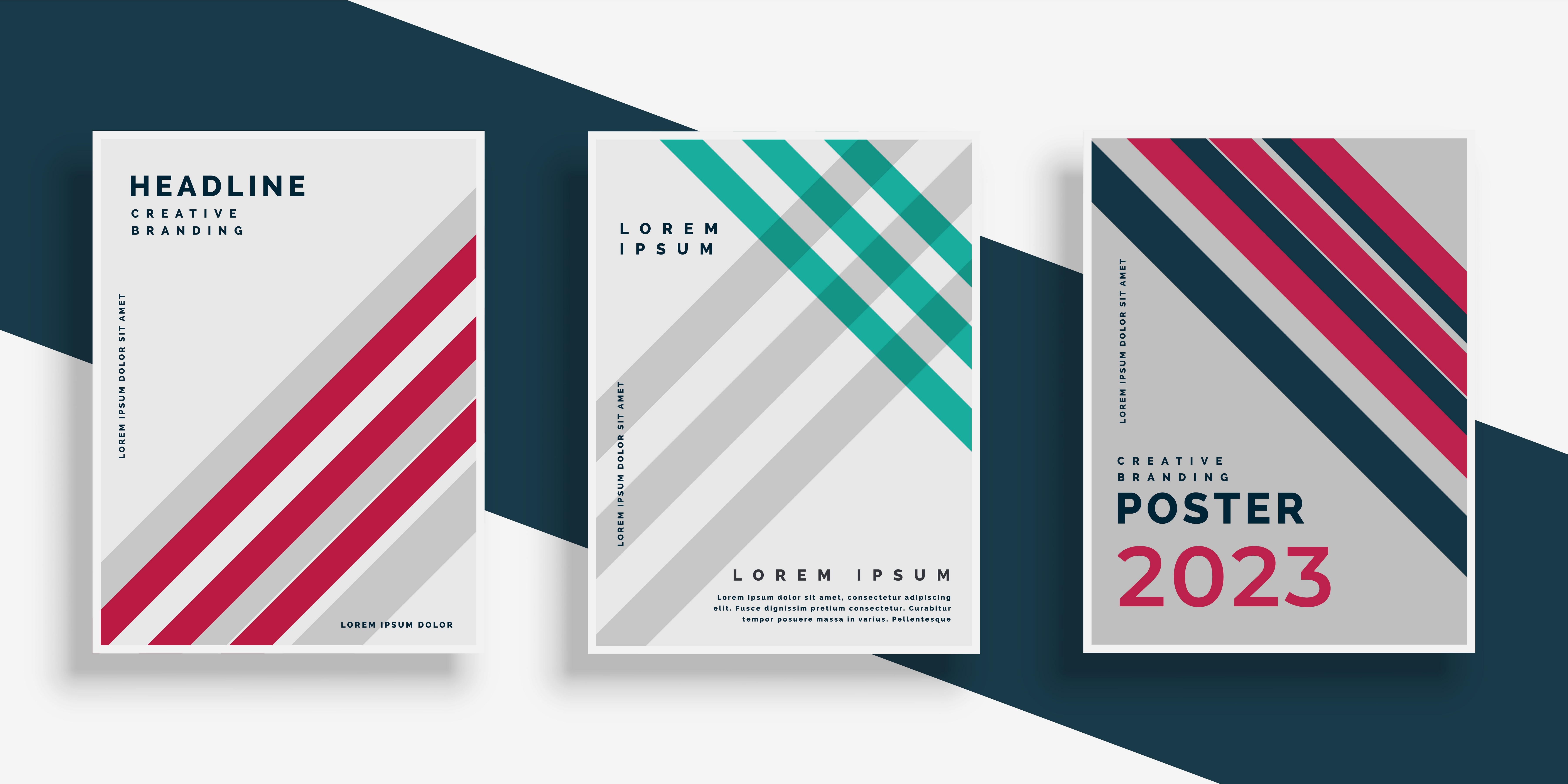 abstract stripes cover page design set