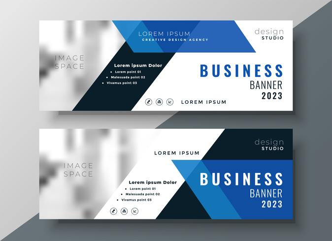 banner profesional de negocios azul con espacio de imagen
