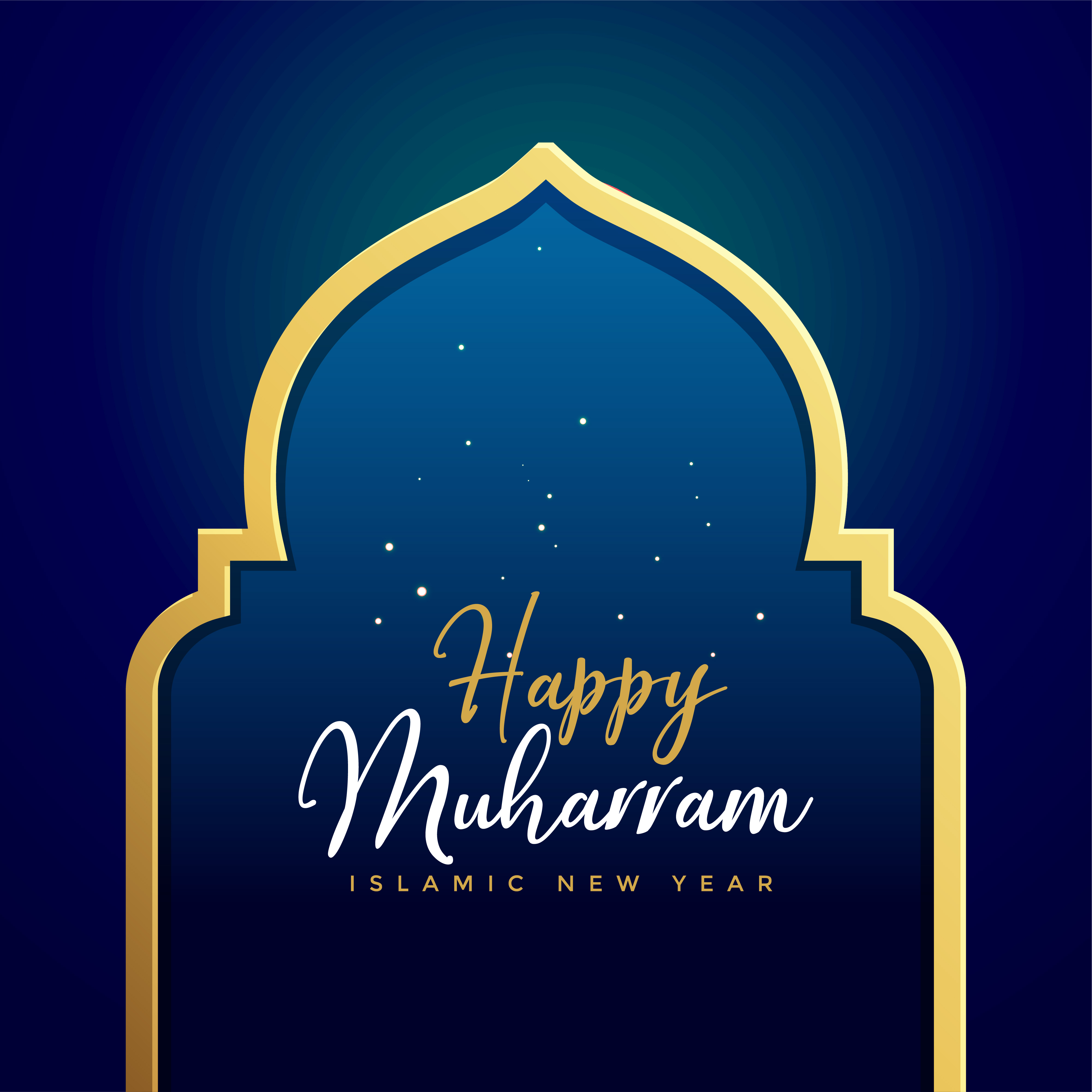 Happy Muharram Islamic Background With Golden Gate Download Free