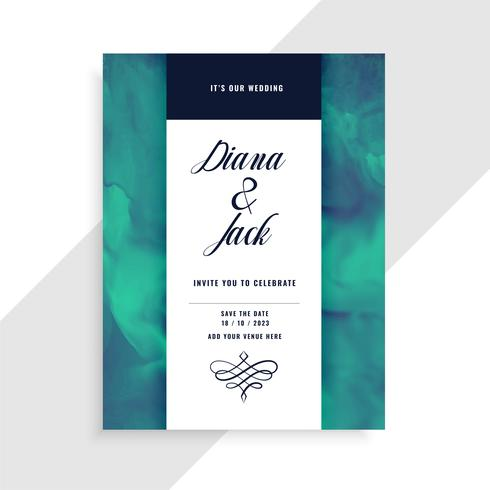 wedding invitation card template with watercolor texture