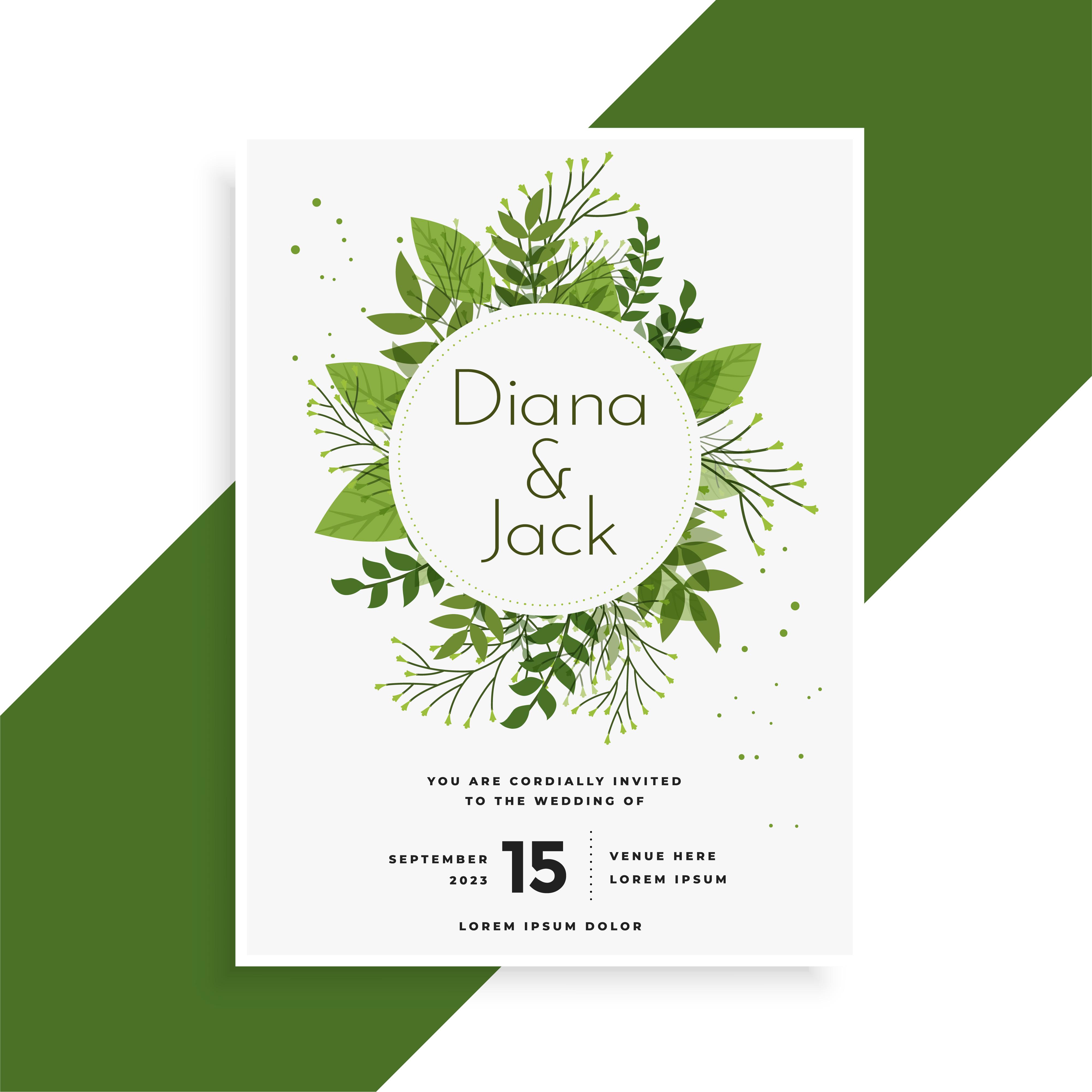 green leaves wedding invitation card design - Download Free Vector ...