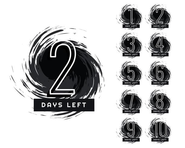 abstract number of days left grunge label