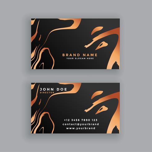 diseño de tarjeta de visita negra y de cobre