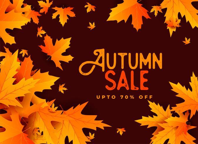 autunno vendita banner design con foglie